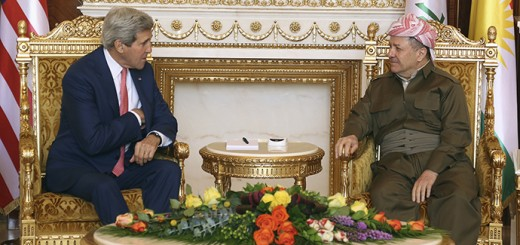 Kurdish Regional Government President Massoud Barzani (R) meets with U.S. Secretary of State John Kerry (L) in Arbil, in Iraq's Kurdistan region June 24, 2014. Kerry was in Iraqi Kurdistan on Tuesday to urge its leaders not to withdraw from the political process in Baghdad after their forces took control of the northern oil city of Kirkuk. Peshmerga fighters, the security forces of Iraq's autonomous Kurdish north, seized control of Kirkuk on June 12 after the Iraqi military fled in the face of an onslaught from Sunni militants from the Islamic State in Iraq and the Levant (ISIL). REUTERS/Stringer (IRAQ - Tags: POLITICS) - RTR3VENN